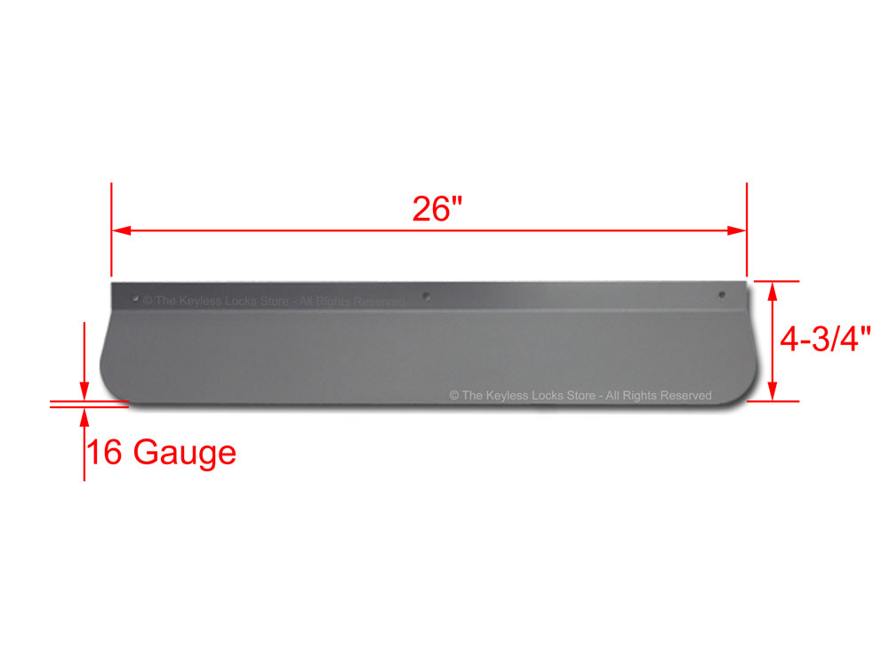 Dimensions for Lockey MAX-Guard Panic Bar Shield
