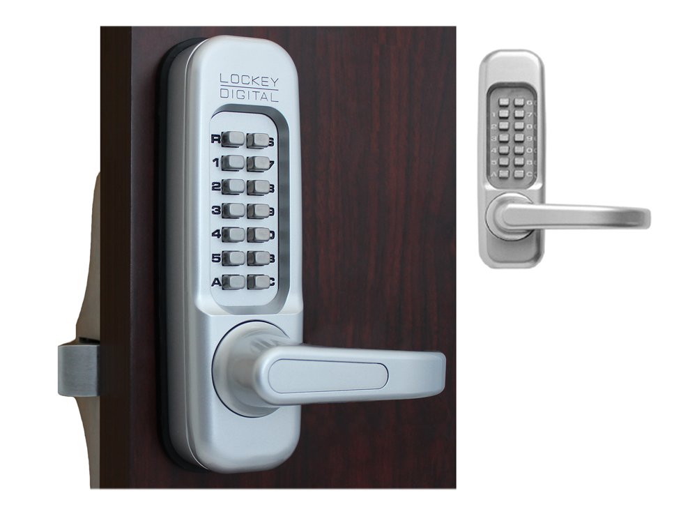 Lockey 115P Heavy-Duty Passage Lever-Handle Panic-Bar Keypad Lock