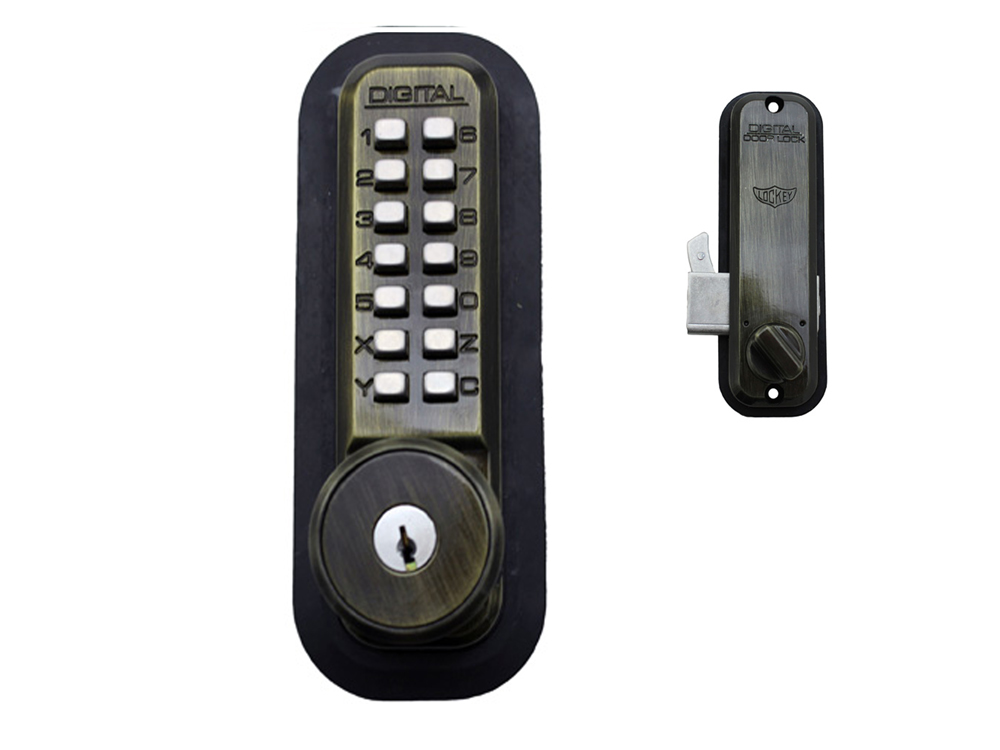 Lockey 2500KO Surface-Mount Hookbolt Keypad Lock with Built-in Key Override