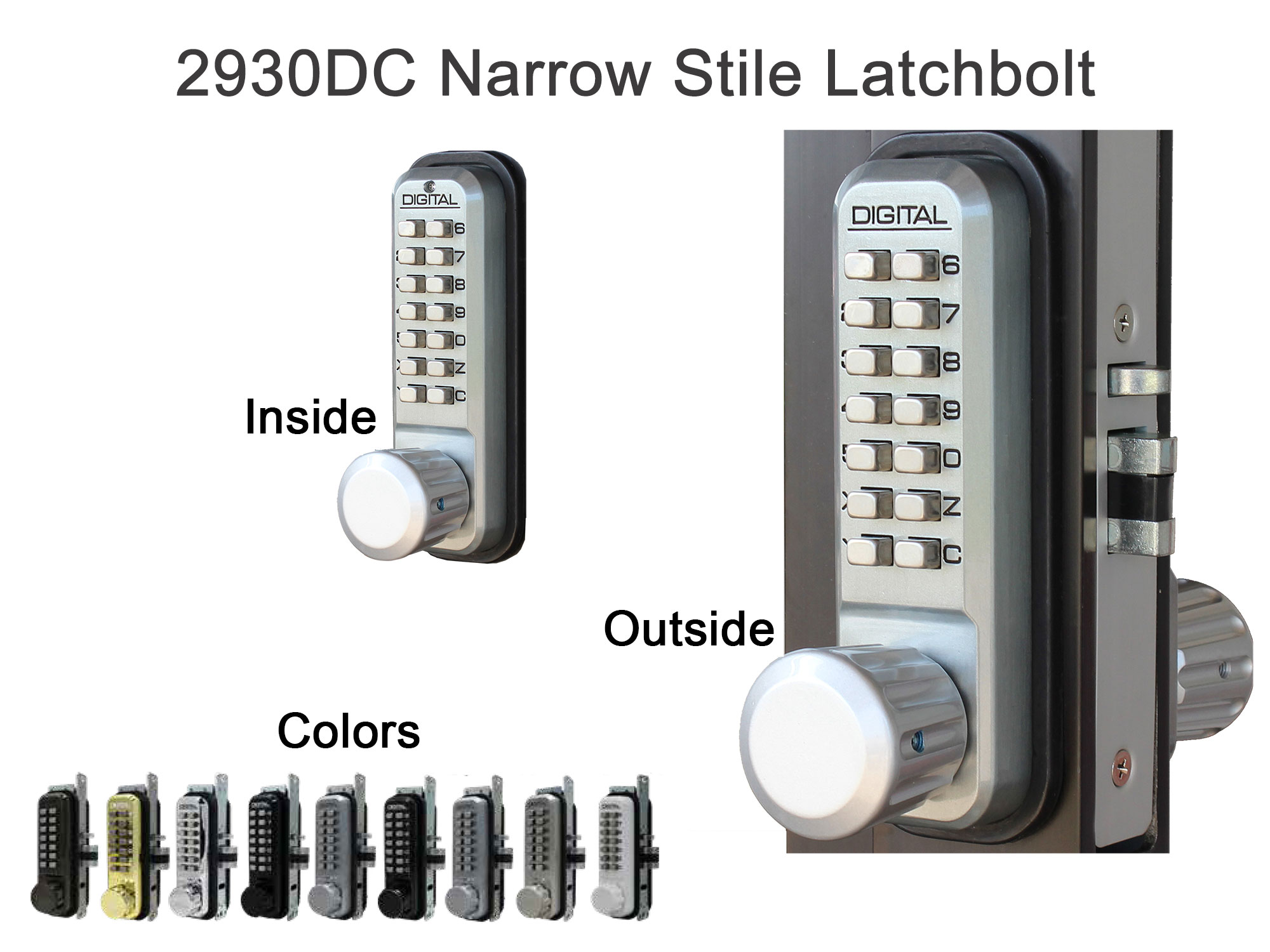 Lockey 2930DC Narrow-Stile Latchbolt Knob-Handle Double-Keypad Lock