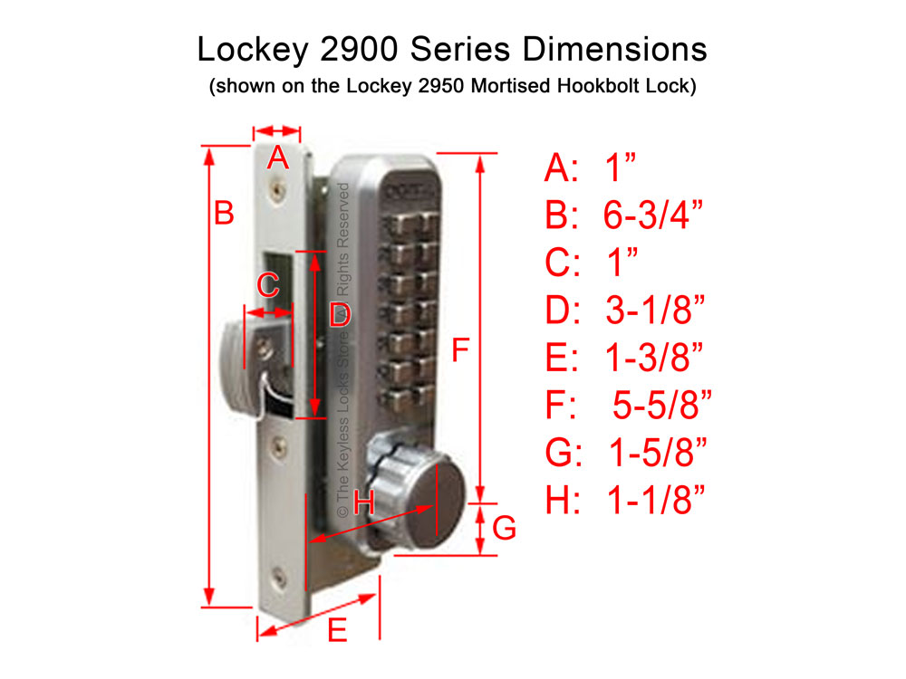 Lockey 2930DC Narrow-Stile Passage Latchbolt Knob-Handle Double-Keypad Lock