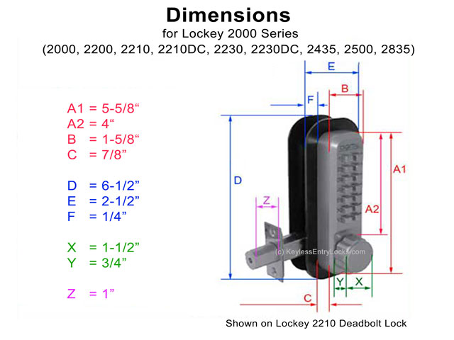 Product Dimensions chart for