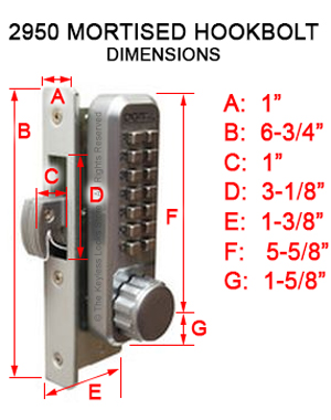 Lockey 2950 Narrow-Stile Hookbolt Keypad Lock
