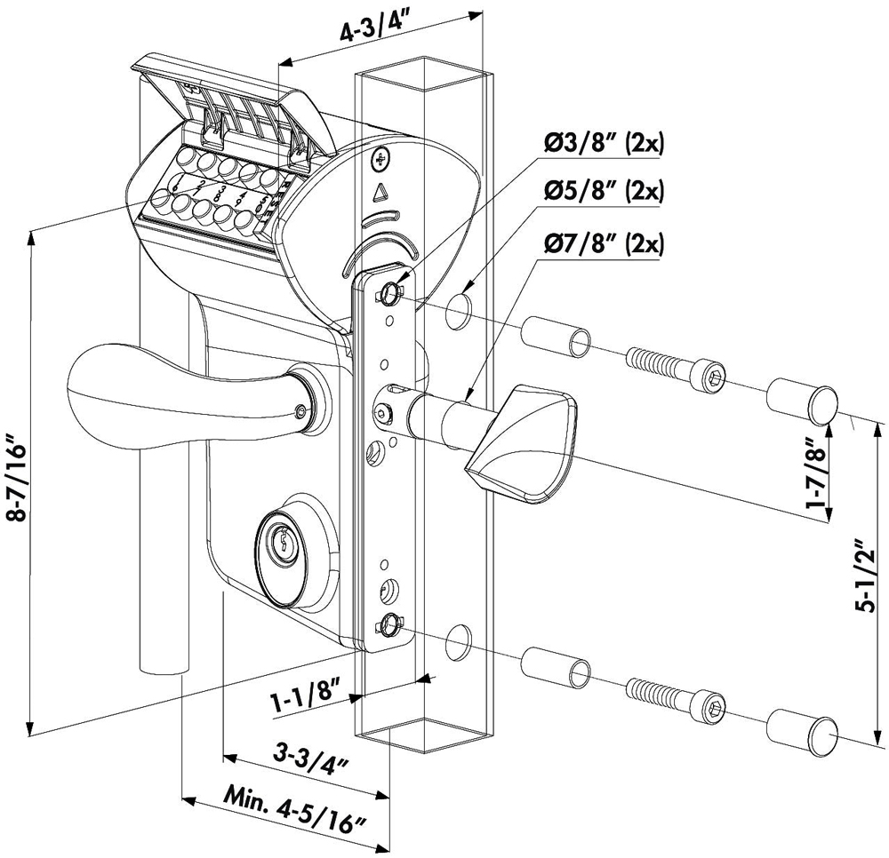 Dimensions for the Locinox LLKZ Double-Keypad Lock for Sliding Gates