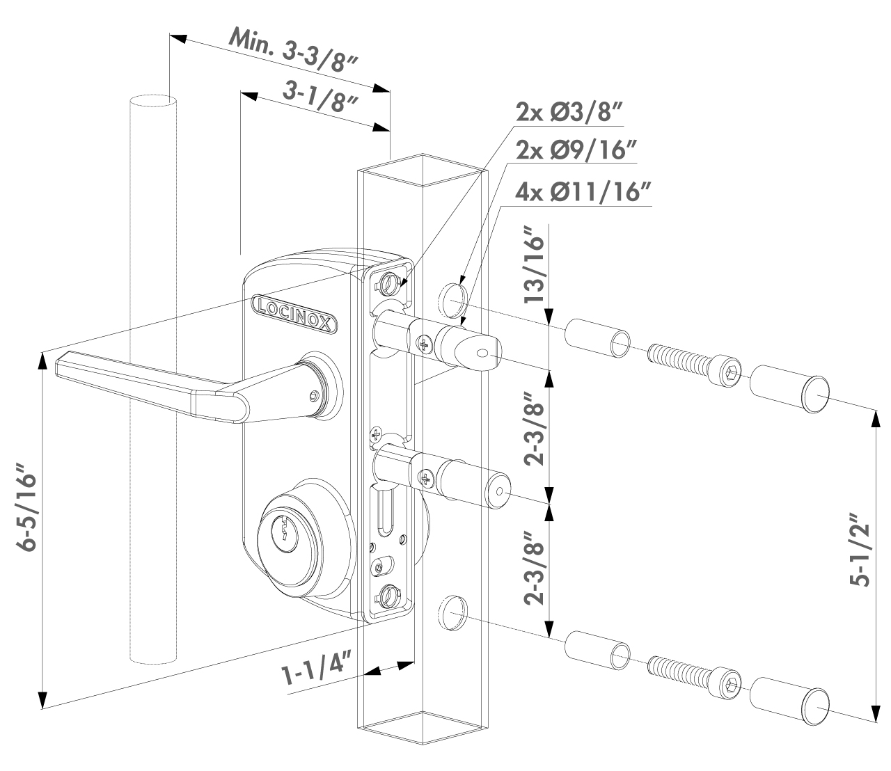 Dimensions for the Locinox LUKY Surface-Mounted Deadbolt/Latchbolt Lever-Handle Keyed Lock