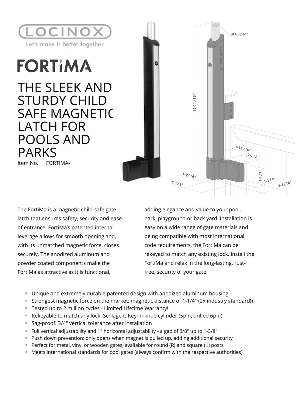 Locinox FORTIMA Pool Gate Latch/Lock