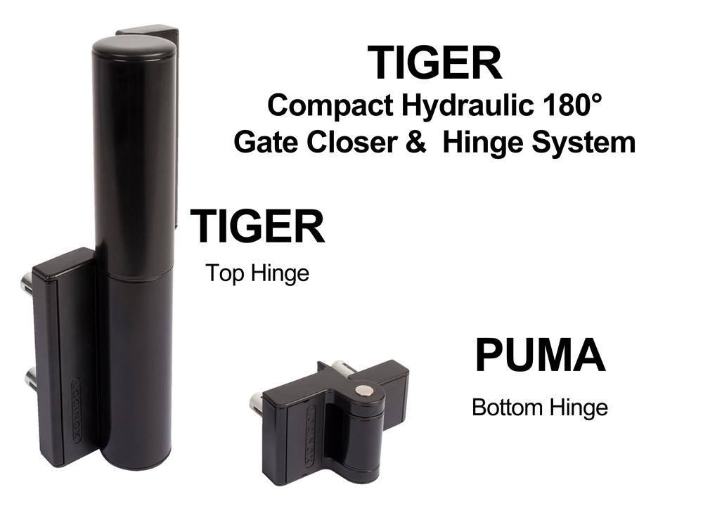 Locinox TIGER Compact Hydraulic Gate Closer & Hinge System (< 165 lbs)