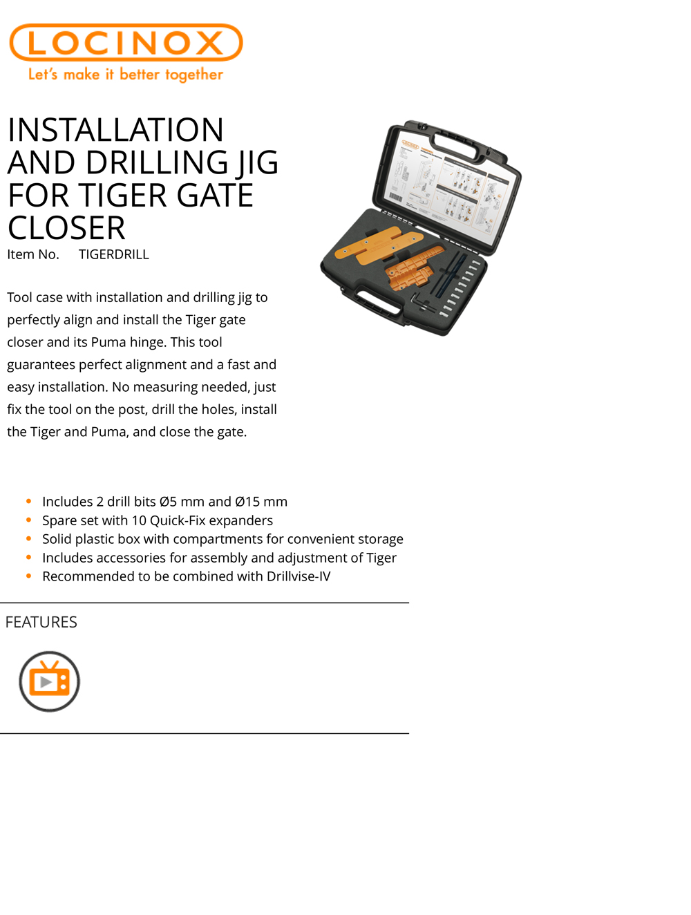 Locinox Jig for Tiger Gate Closers-Catalog Page (PDF)