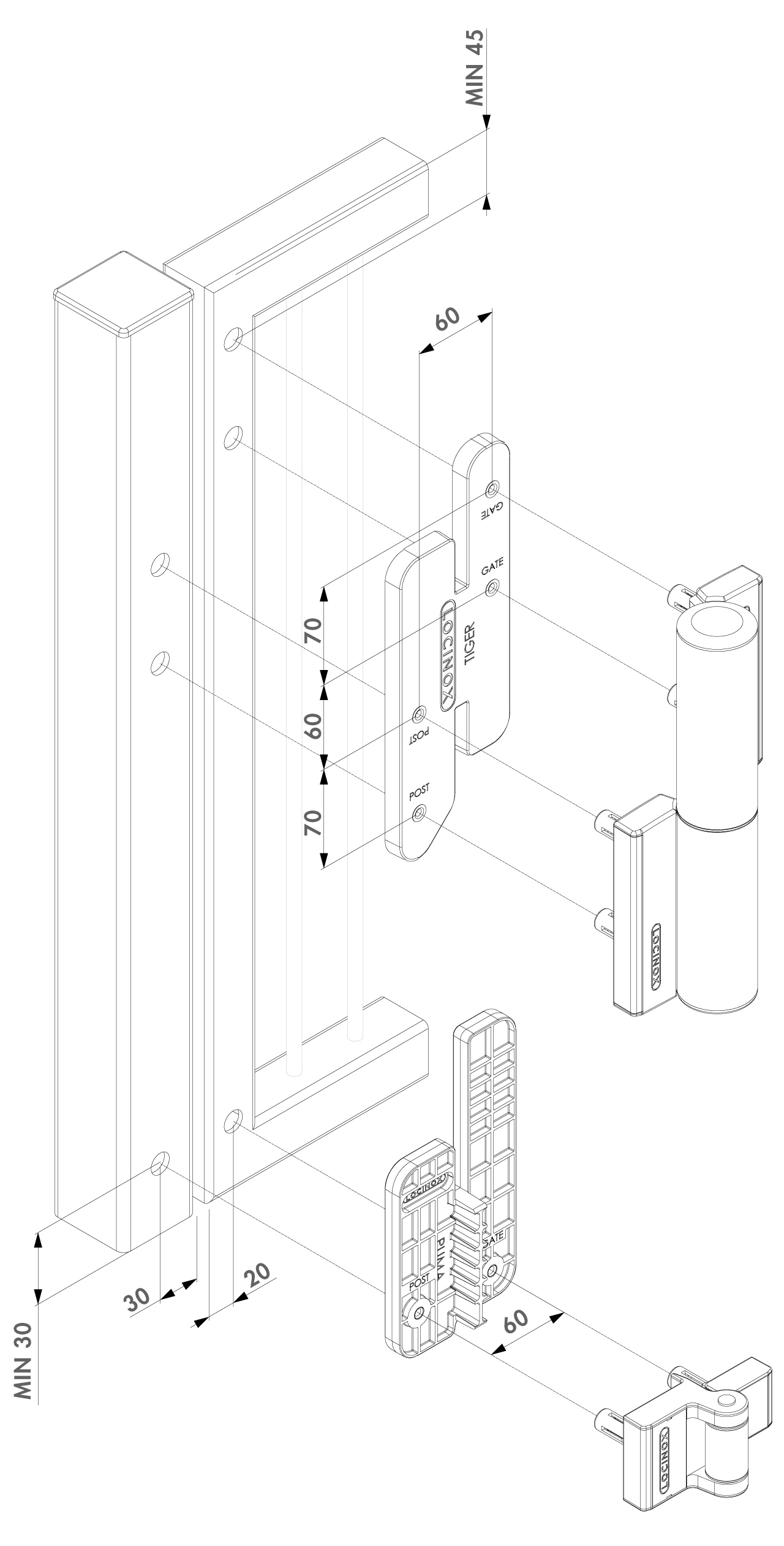 Locinox Jig for Tiger Gate Closers-Dimensions (PDF)