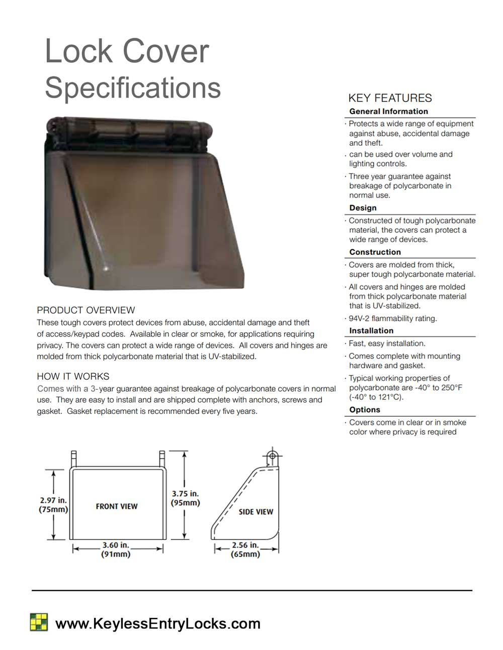 Polycarbonate Lock Cover - Specifications