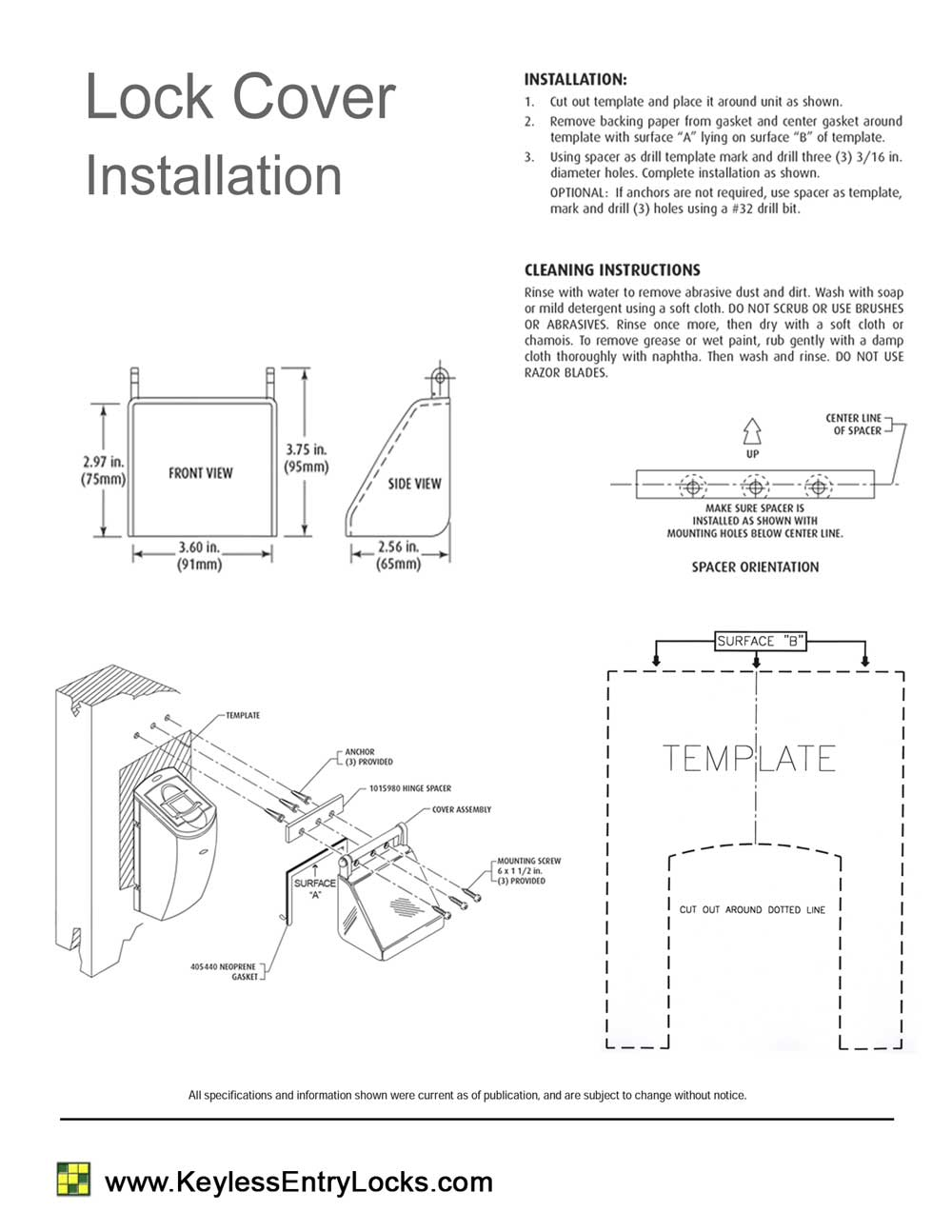 Polycarbonate Lock Cover - Installation Instructions & Template