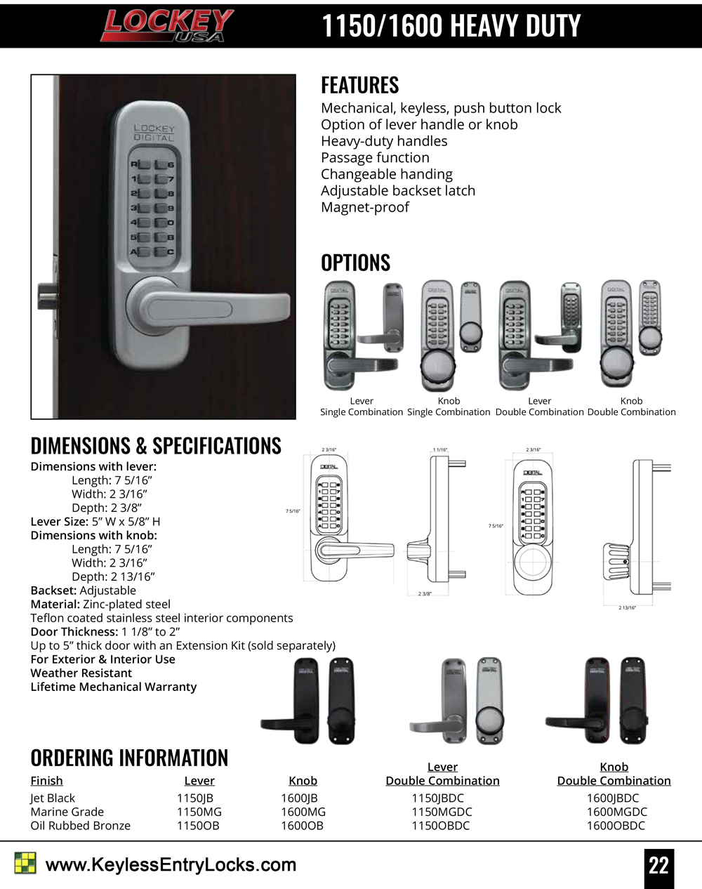 Lockey 1150DC Double-Sided Heavy-Duty Lever-Handle Latchbolt Keypad Lock