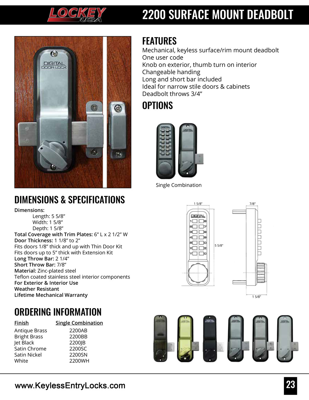 Lockey 2200 Surface-Mount Slide-Bar Deadbolt Keypad Lock