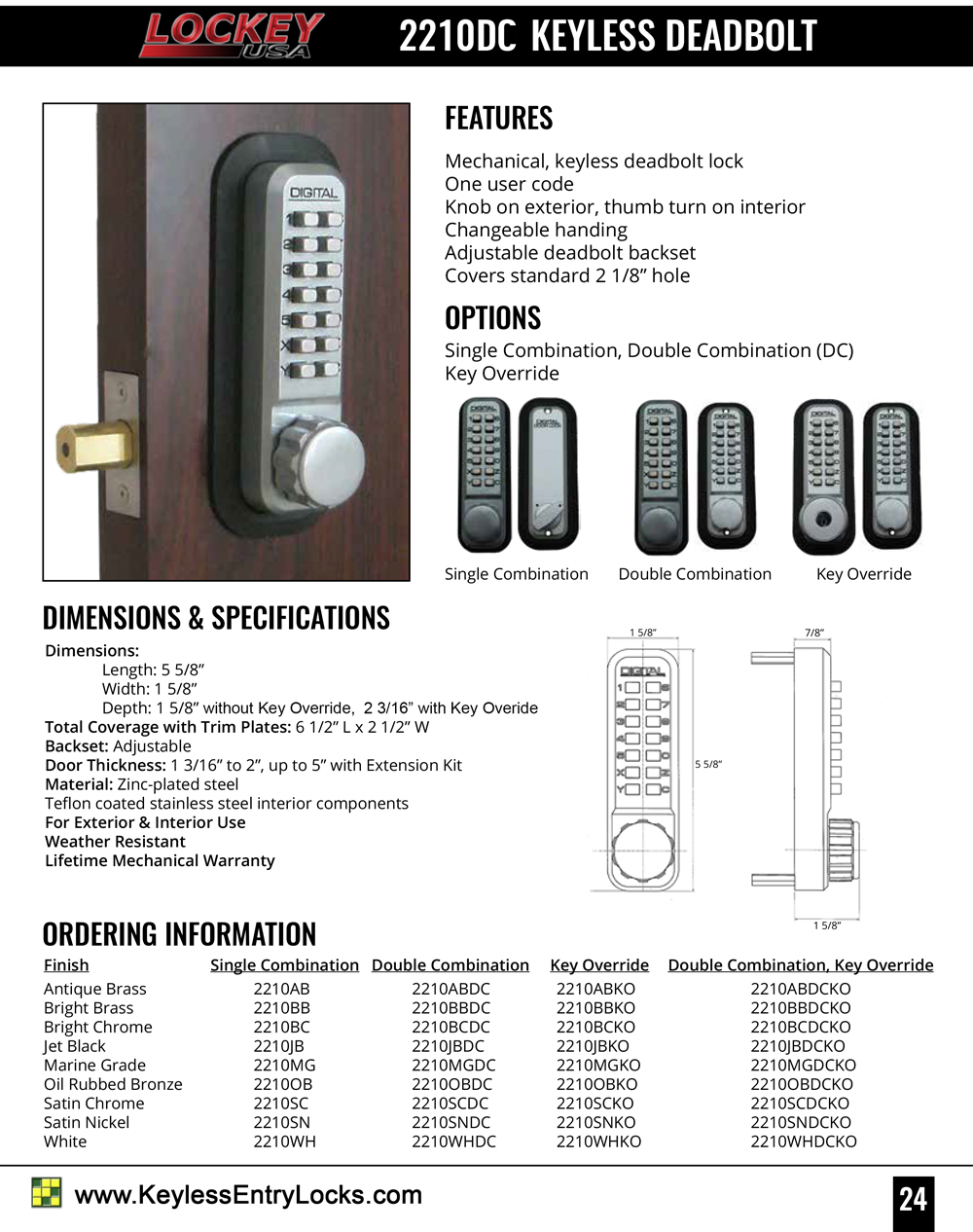 Lockey 2210DC Deadbolt Keypad Lock