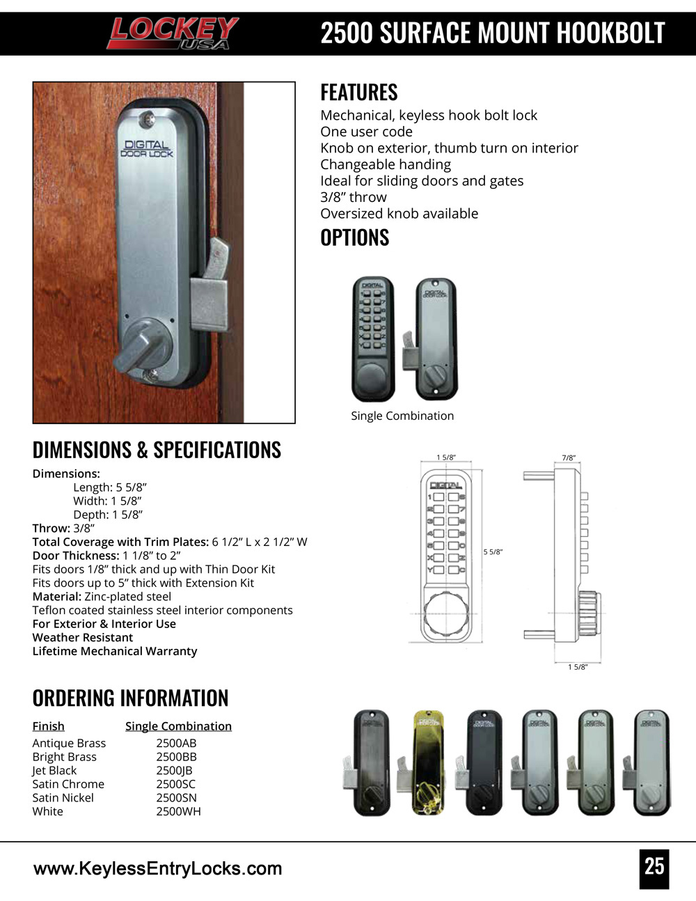 Lockey 2500 Hookbolt Keypad Lock