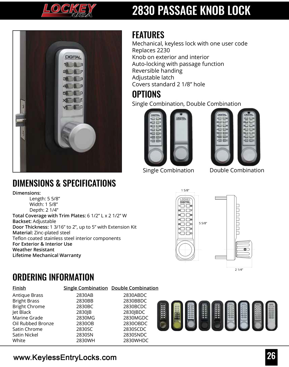 Lockey 2830 Passage Knob Latchbolt Keypad Lock