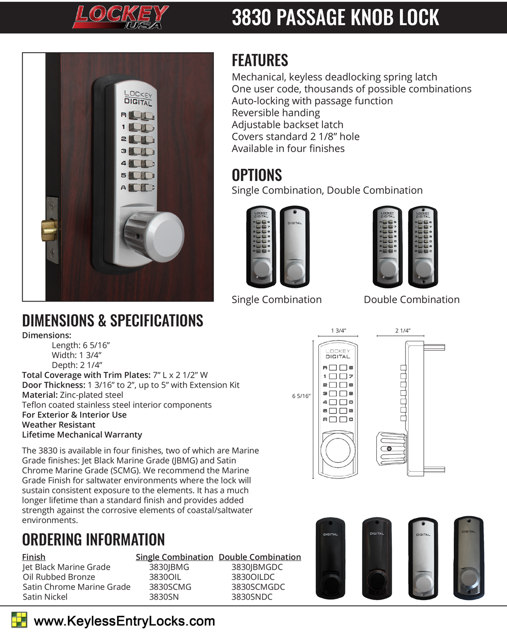 Lockey 3830 Passage Knob Latchbolt Keypad Lock