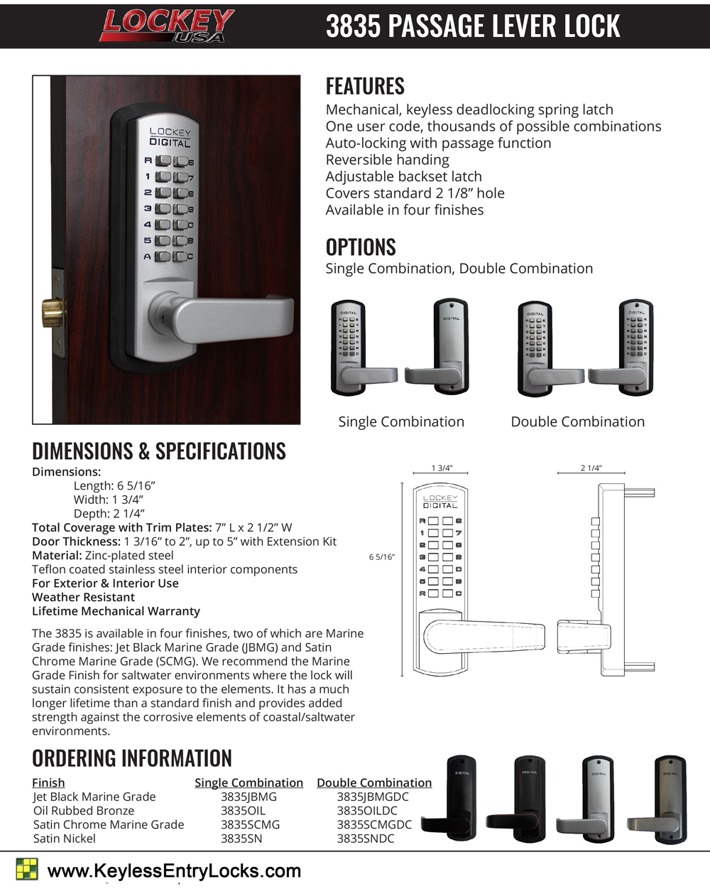 Lockey 3835 Passage Knob Latchbolt Keypad Lock