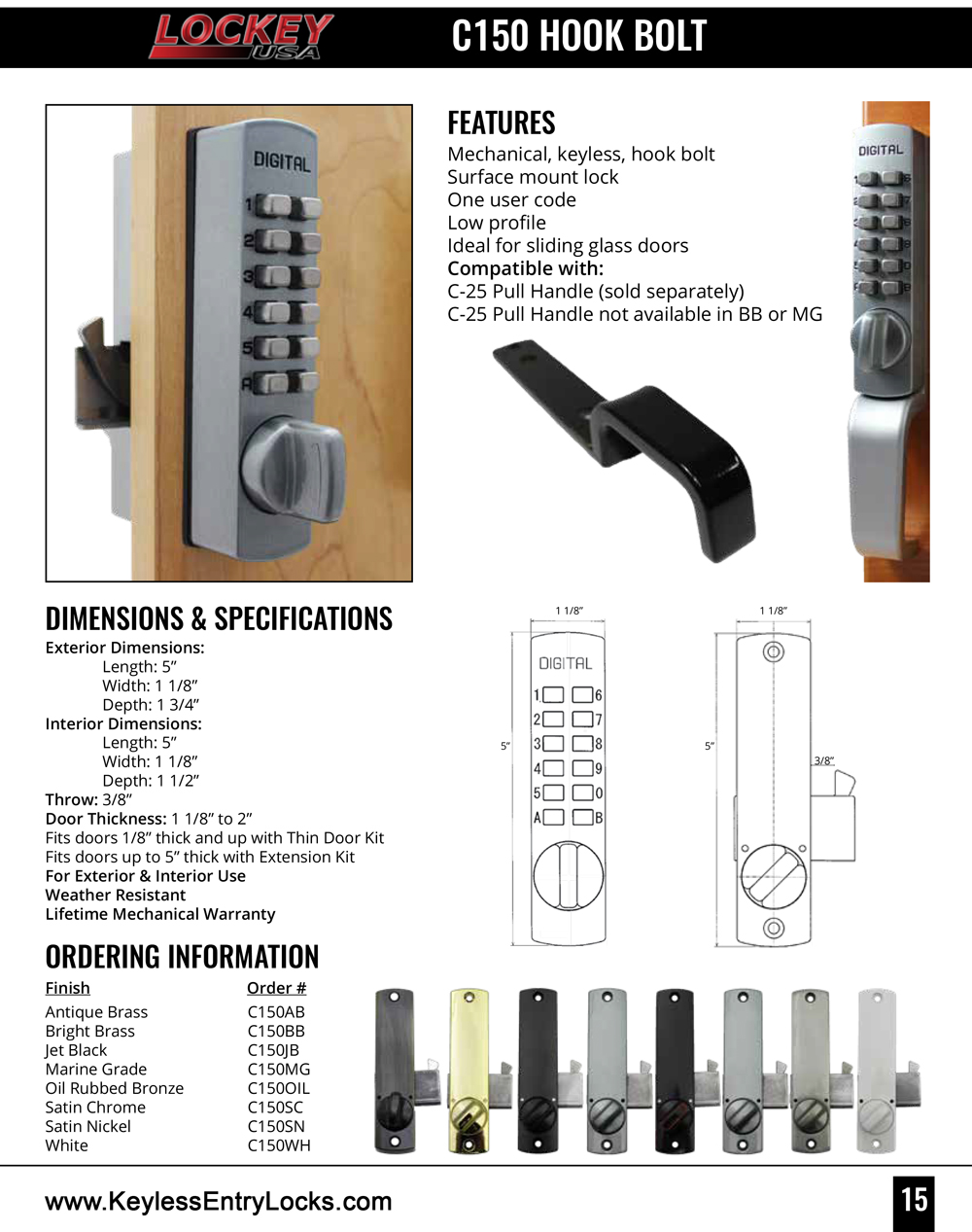 Lockey C150 Cabinet Hookbolt Lock Keypad Lock
