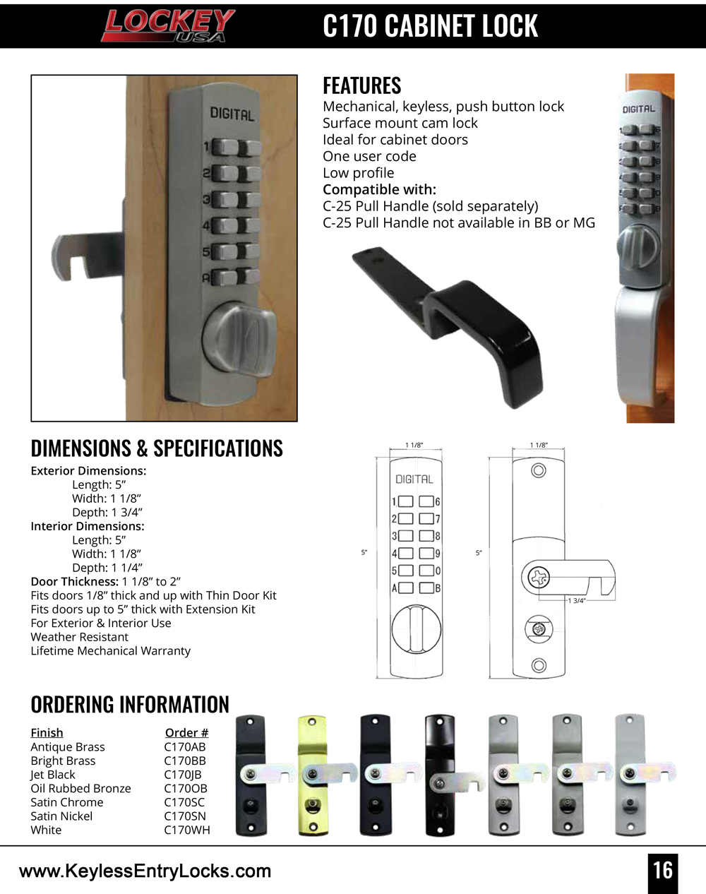 Lockey C170 Cabinet Cam Keypad Lock