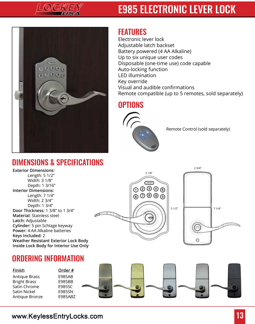 Lockey E985 Electronic Lever-Handle Latchbolt Lock