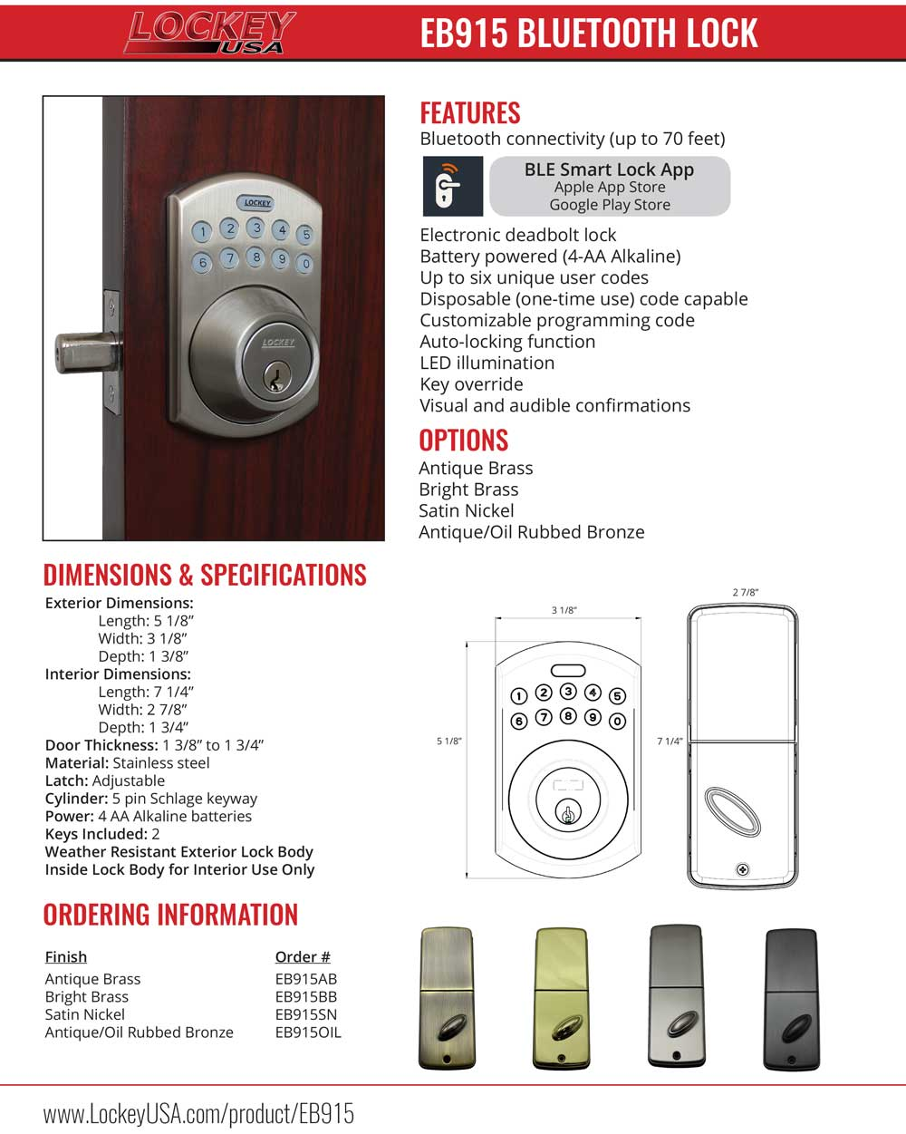 Lockey EB915 Electronic Bluetooth Deadbolt Lock