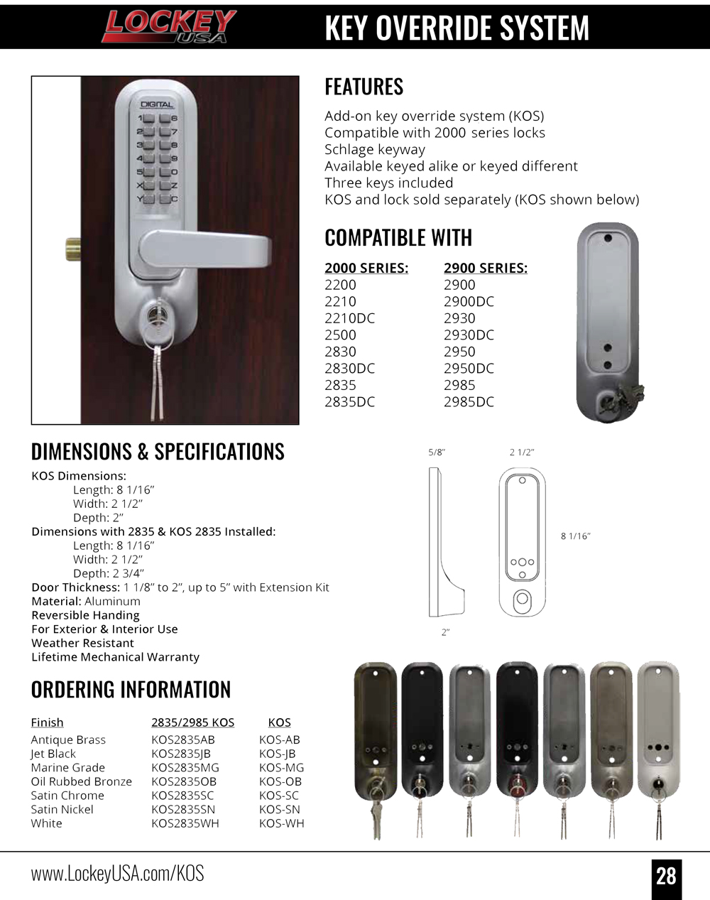 Lockey KOS Add-On Key Override System