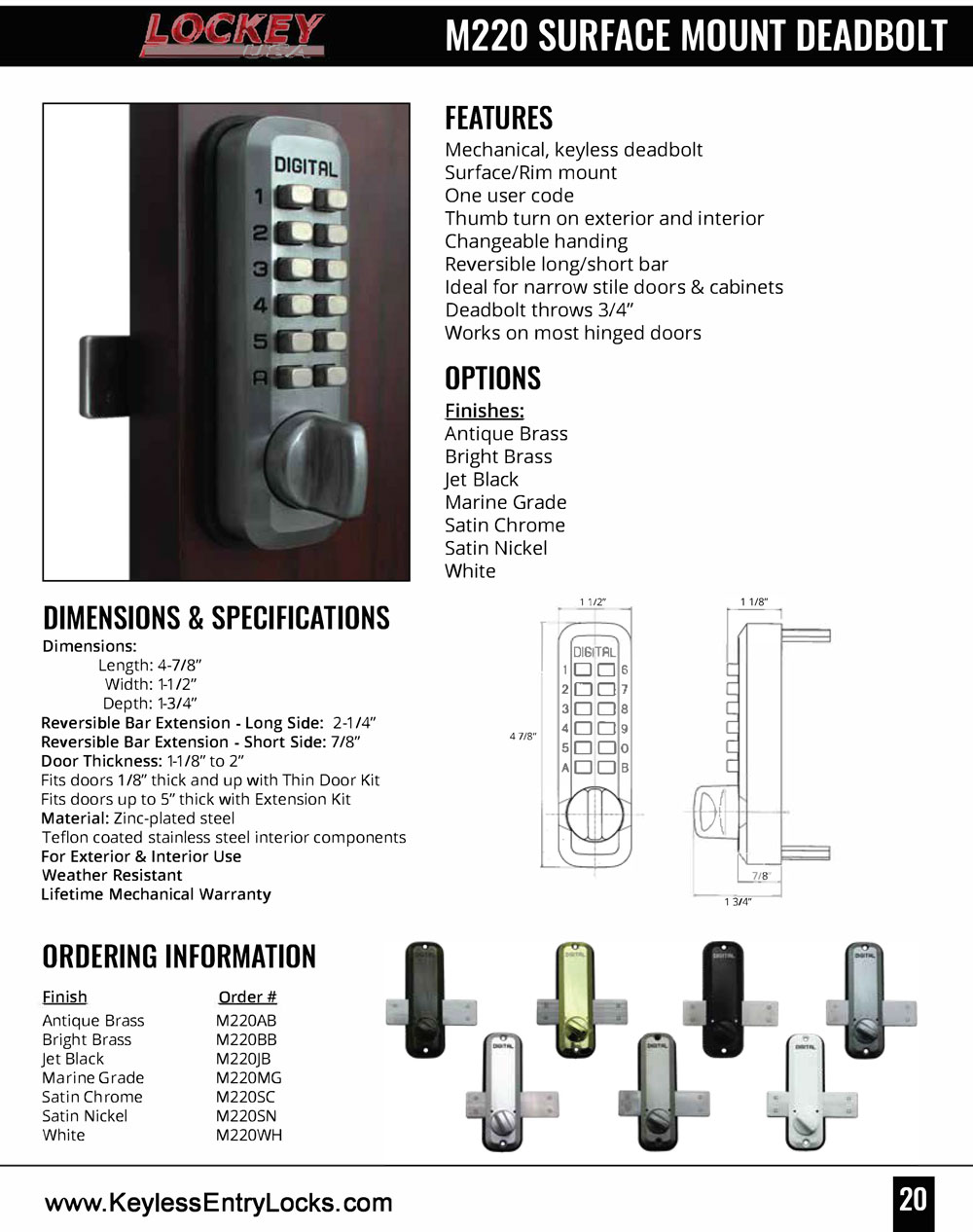 Lockey M220 Home Slide-Bar Deadbolt Keypad Lock