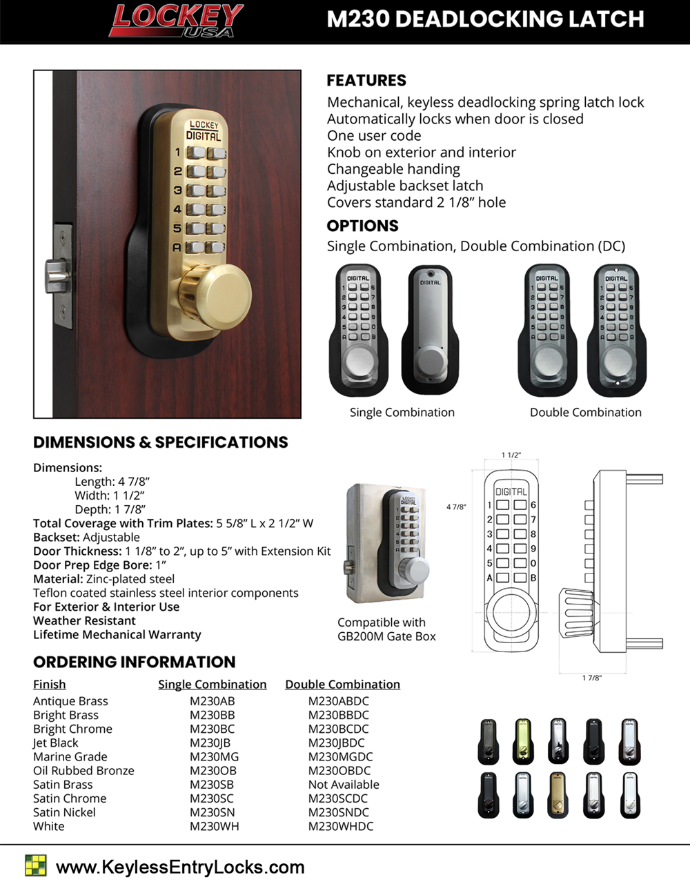 Lockey M230 Deadlocking Latchbolt Keypad Lock