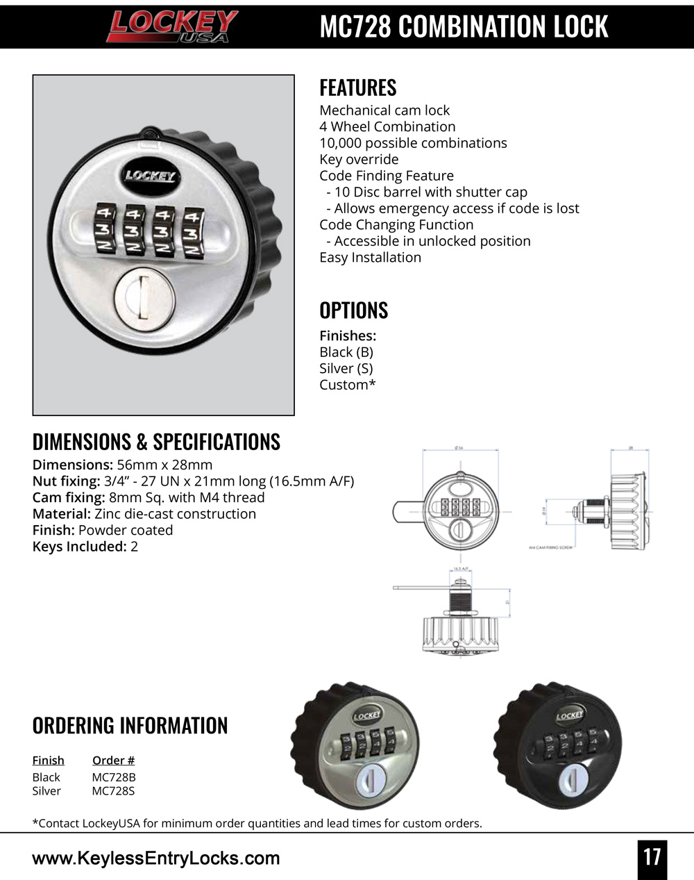 Lockey MC728 Mechanical Combination Lock