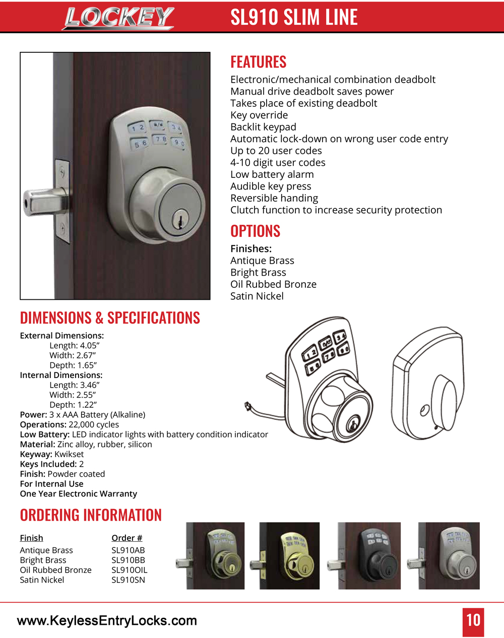 Lockey SL910 Slim Line Keypad Deadbolt Lock