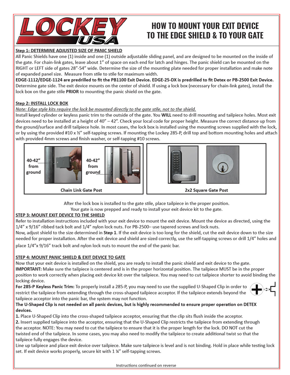 Installation Instructions - Lockey Panic Shield Kits: EDGE/SECURITY (ED60 to ED65)