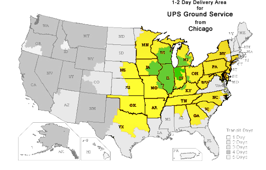 1-2 Day Shipping areas for UPS Ground Service