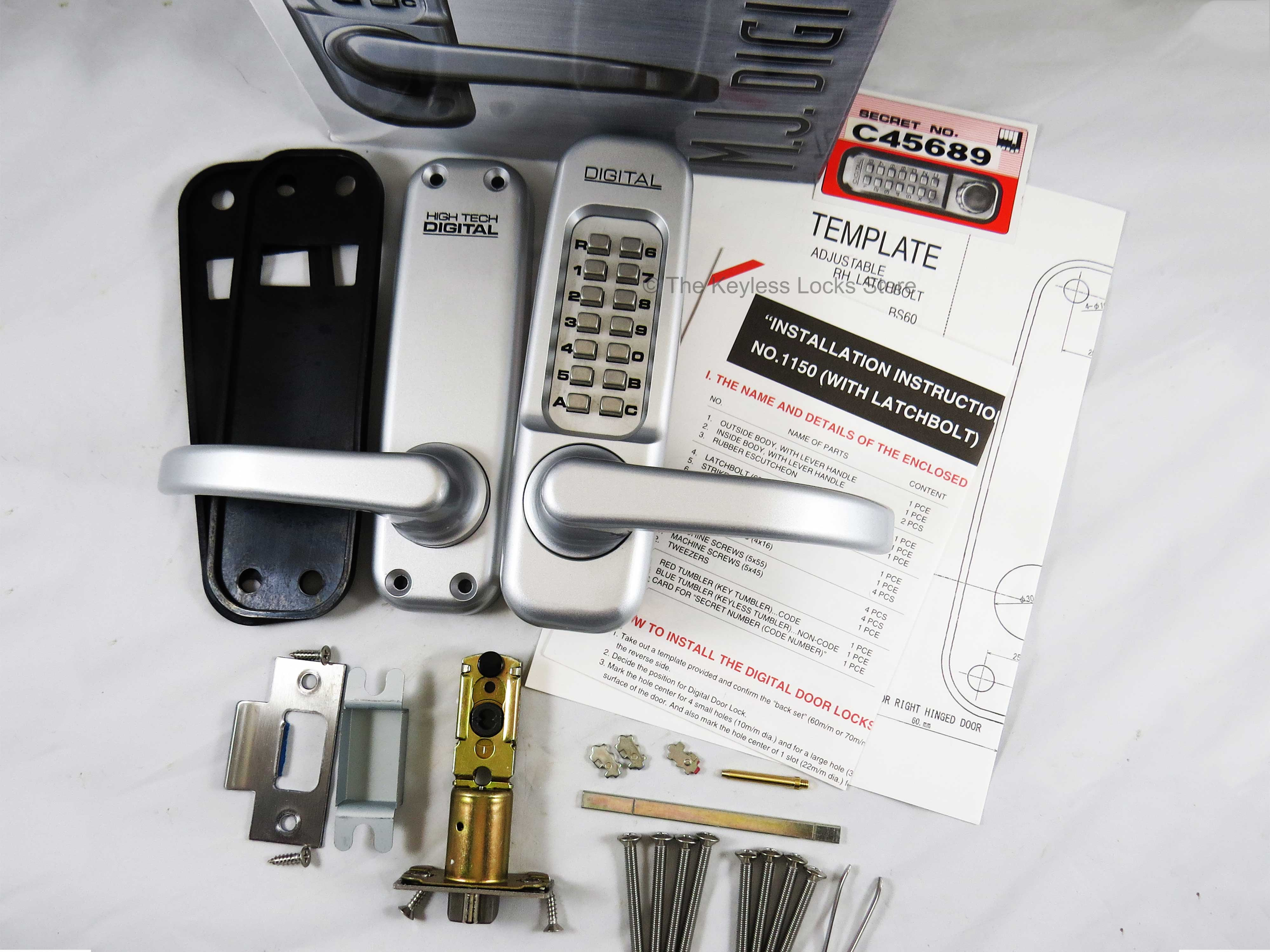 Lockey 1150 Heavy-Duty Passage Lever-Handle Latchbolt Keypad Lock
