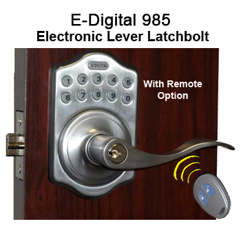 Lockey EZ-985 Electronic Optional Remote Lever-Handle Latchbolt Keypad Push-Button Combination Keyless Entry Door Lock