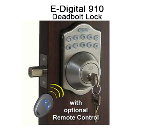 Lockey EZ-910 Electronic Optional Remote Deadbolt Keypad Push-Button Combination Keyless Entry Door Lock