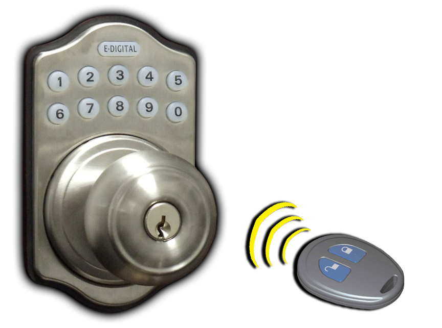Electronic Digital Keyless Latchbolt Outside View Antique Brass with Remote Control