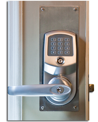 combination entry door lock installed on door with optional trim plate