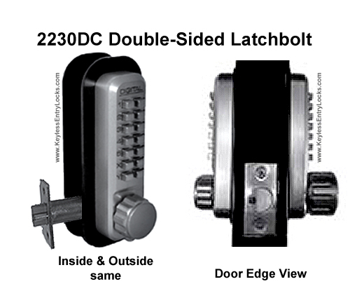 Lockey 2230DC Double-Sided Latchbolt Keypad Push-Button Combination Entry Door Lock