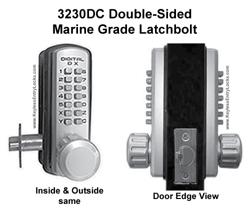Lockey 3230DC Double-Sided Marine Grade Latchbolt Keypad Push-Button Combination Entry Door Lock