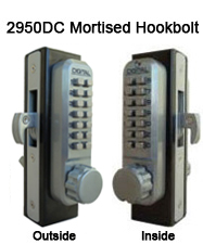 Lockey 2950DC Double Sided Mortised Knob Hookbolt Keypad Push-Button Combination Keyless Mortised Hookbolt Lock