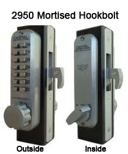 Lockey 2950 Mortised Knob Hookbolt Keypad Push-Button Combination Keyless Mortised Hookbolt Lock