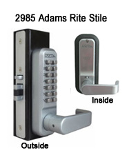 Lockey 2985 Adams Rite Stile Lever Handle Latchbolt Keypad Push-Button Combination Keyless Adams Rite Stile Latchbolt Lock