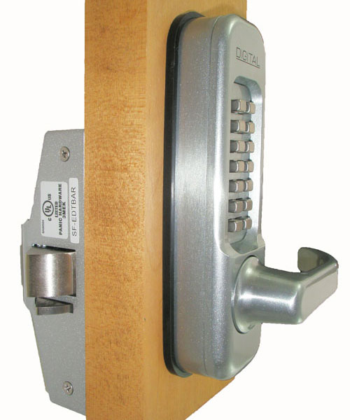 115P Keyless Panic Bar Lock Outside View-Color
