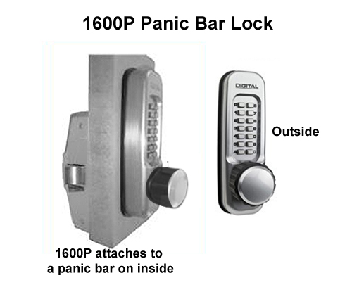 Lockey 1600P Knob-Handle Panic-Bar Lock (aka 160P)