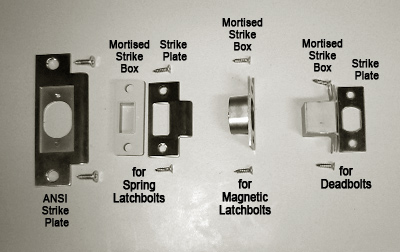 different kinds of strike plates and kits for keyless locks