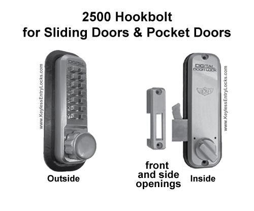 Lockey 2500 Hookbolt for Sliding/Pocket Doors Keypad Push-Button Combination Keyless Entry Door Lock