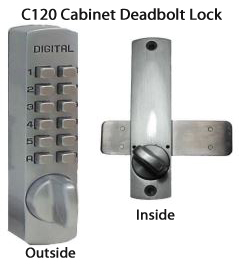 Lockey C120 Cabinet Slide-Bar Deadbolt Keypad Lock