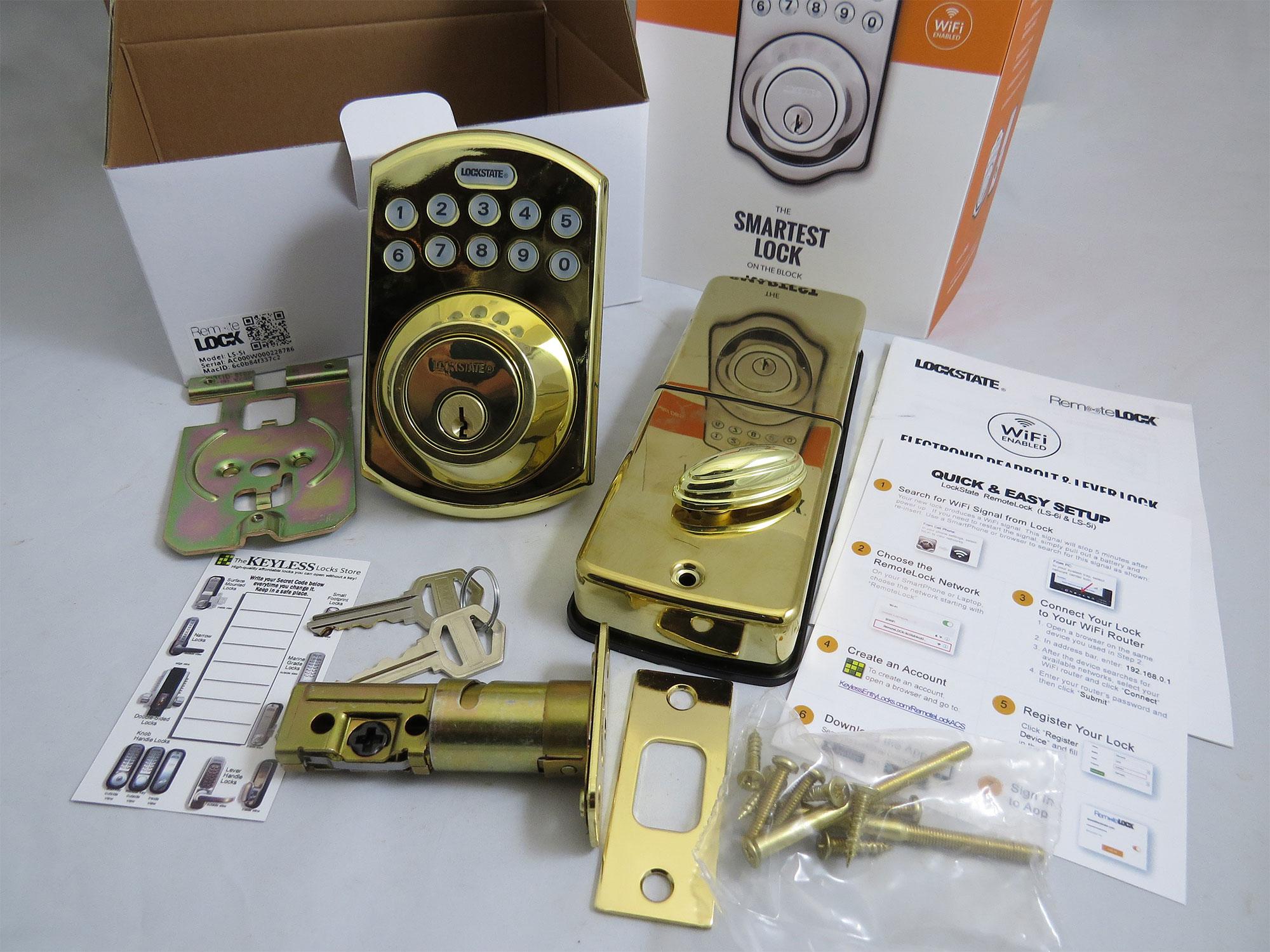 lockstate remotelock ls5ib deadbolt lock wifienabled - Wifi Deadbolt