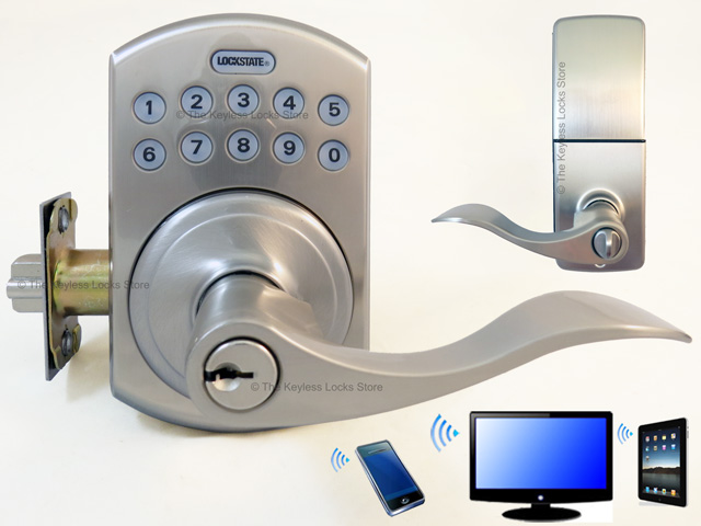 LockState LS-5i-B Lever-Handle WiFi RemoteLock & LockState LS-ACS 1-Door WiFi Access Control System : Keyless Entry ...